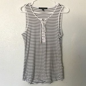White House Black Market Striped Tank Small